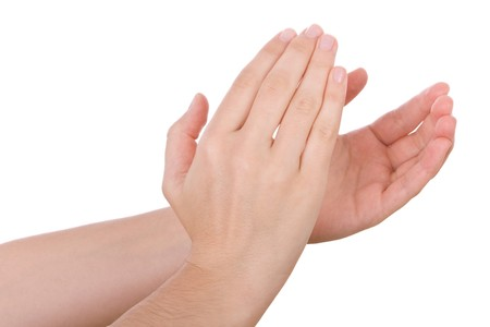 clapping hands: Hands applauding isolated on a white background
