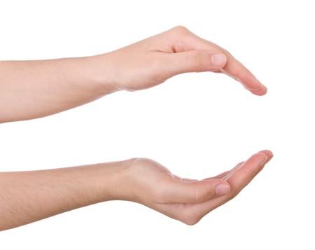 Apri mani isolato su bianco. Concetto per l'organizzazione, la protezione, mostrando ...