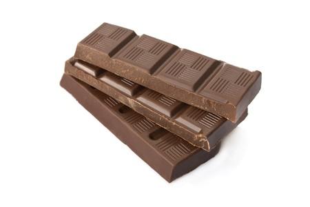 Broken dark chocolate bar isolated on white background Stock Photo - 4504787
