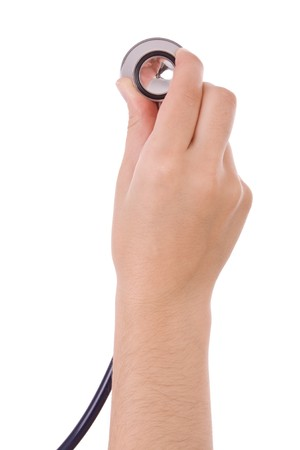 Hand holding a blue stethoscope isolated on white photo