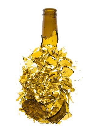 glass beer bottle: Broken beer bottle isolated on white background  Stock Photo