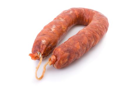 Iberian chorizo, from Barrancos - Alentejo region, Portugal (Chouriço) - isolated on white  Stock Photo
