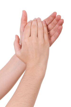 applauding: Hands applauding isolated on a white background