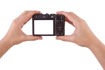 Hand photographing with a digital camera isolated on white Stock Photo - 4706149