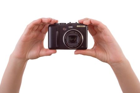 frontal views: Hand photographing with a digital camera isolated on white