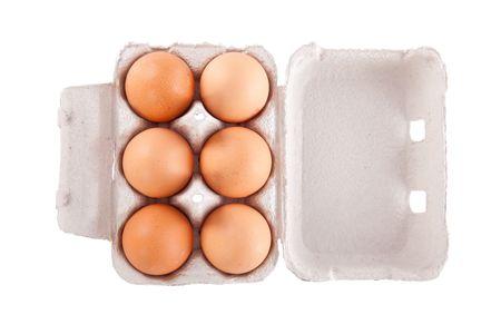 Half dozen  brown chicken eggs in box  isolated on white background Stock Photo - 5125592