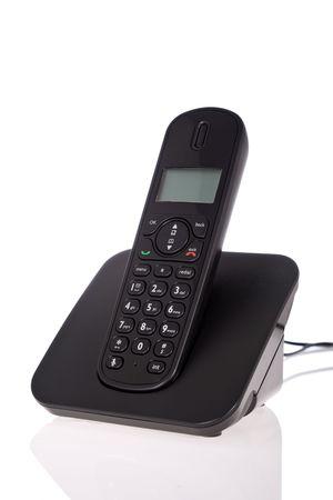 cordless phone: Black cordless phone isolated on white background