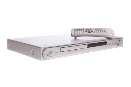 bluray: DVD player with remote control isolated on white background Stock Photo