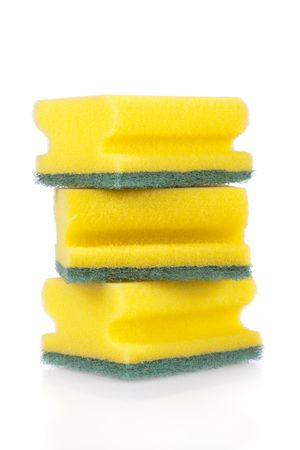 scouring: Three scouring pads isolated on a white background