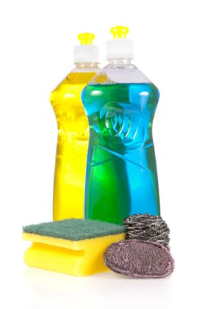 Liquid detergent bottles with scouring pad, stainless steel and steel wool soap pads isolated on white background   photo