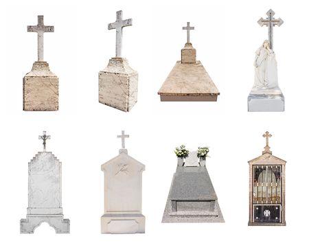 Set of various gravestones isolated on white background