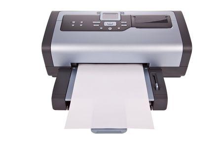 Stampante a getto di inchiostro isolata su uno sfondo bianco