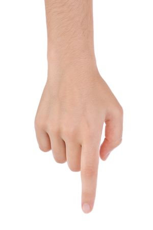 signalering: Hand aanwijs, aan te raken of te drukken geïsoleerd op wit. Blanke vrouw.  Stockfoto