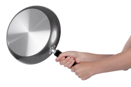 Woman beating with a frying pan isolated on white Stock Photo - 6369236