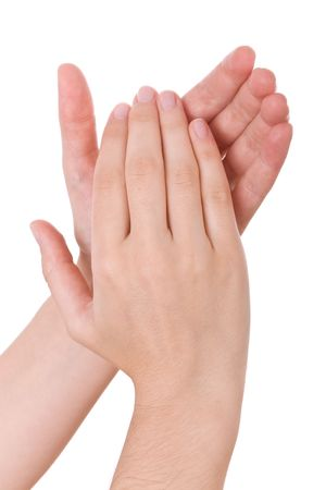 Hands applauding isolated on a white background Stock Photo - 6369192