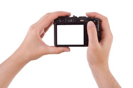 sucher: Hand Fotografieren mit einer digitalen Kamera auf wei� isoliert