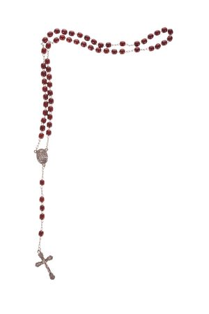 Rosary beads isolated over a white background Stock Photo