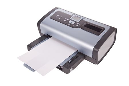 Inkjet printer isolated on a white background photo