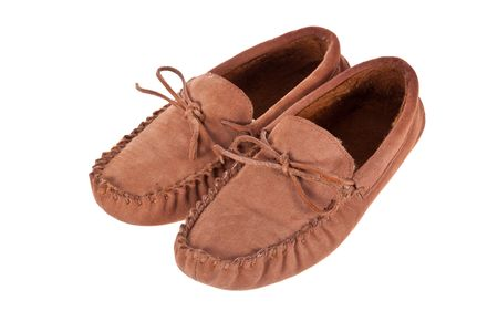 moccasins: Pair of moccasin slippers isolated on white