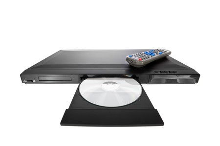 DVD player ejecting disc with remote control isolated on white background photo