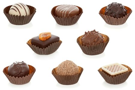 Gourmet chocolate bonbons isolated on white background