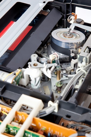 Interior of a VCR with a cassette inserted and playing Stock Photo - 9296762