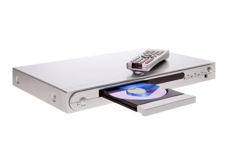 DVD プレーヤーのリモコンの白い背景で隔離のディスクの取り出し