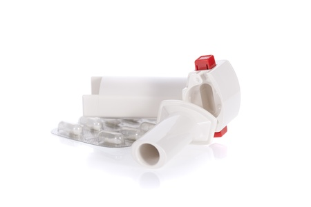 Asthma inhaler isolated on a white background Stock Photo - 9535932
