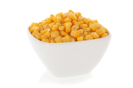 Sweet corn in a bowl isolated on a white background
