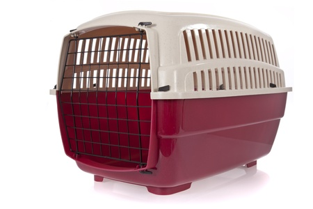 cat carrier: pet carrier isolated on a white background Stock Photo