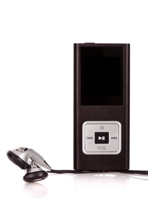 stereo cut: mp4 player isolated on a white background