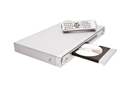 cd player: DVD player ejecting disc with remote control isolated on white background