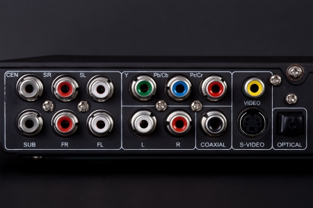 surround system: Close up of the plugs for the 5.1 surround sound system in a DVD player