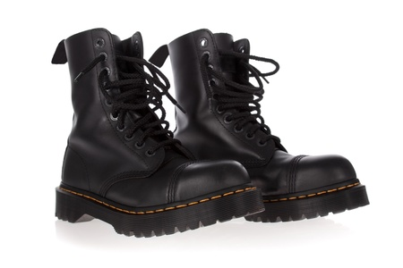 steel toe boots: Military style black boots isolated on white background