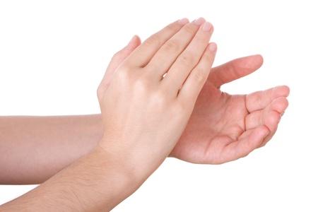 manos aplaudiendo: Las manos aplaudiendo aislado en un fondo blanco