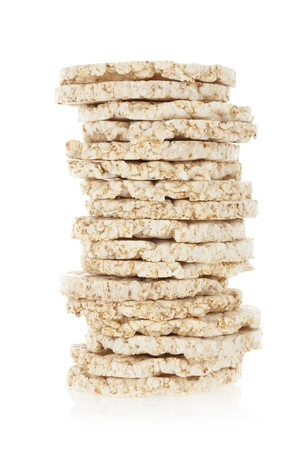 rice cake: Diet rice cakes pile isolated on white background  Stock Photo