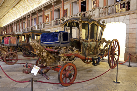 Lisbon, Portugal - June 18, 2013  Berlin Coach  18th cent  Baroque  - National Coach Museum, the most visit museum in Portugal -