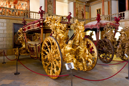 Lisbon, Portugal - June 18, 2013  - Pope Clement XI Embassy Coach  of the Oceans  - 1716 - National Coach Museum, the most visited museum in Portugal -