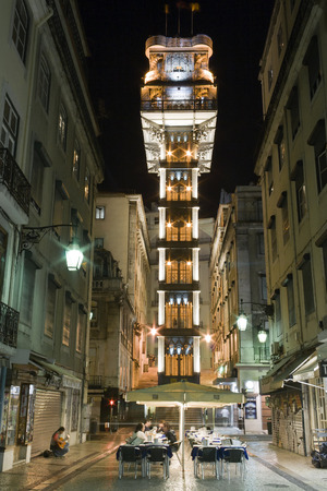 Lisbon, Portugal - July 10, 2013  Santa Justa elevator in the Baixa District  19th cent  project by Raul Mesnier de Ponsard  Gustave Eiffel disciple