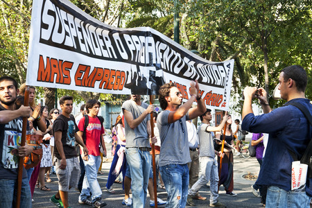 Lisbon, Portugal - October 01, 2011  Young adults in demonstration against IMF   austerity plan and for employment, salaries and pensions