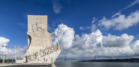 discoveries: Padrao dos Descobrimentos  Sea Discoveries Monument  and a view of the Tagus River and the 25 de Abril Bridge  Belem District of Lisbon, Portugal