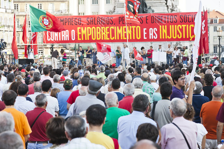 Lisbon, Portugal - October 01, 2011  Speech in the demonstration against IMF   austerity plan and for employment, salaries and pensions