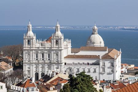 mannerism: Sao Vicente de Fora Monastery, and the dome of the National Panteon  Santa Engracia church aka Panteao Nacional   Lisbon, Portugal Stock Photo