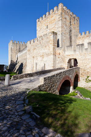 ramparts: Sao Jorge  St  George  Castle in Lisbon, Portugal  Entrance of the keep  castelejo   One of the landmarks of the Portuguese Capital  Editorial