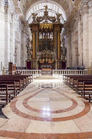 mannerism: Baroque altar under baldachin  Church of the Sao Vicente de Fora Monastery  Very important monument in Lisbon, Portugal  17th century Mannerism Editorial