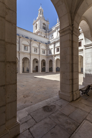 mannerism: Cloister of Sao Vicente de Fora Monastery in white limestone  Very important monument in Lisbon, Portugal  17th century Mannerism