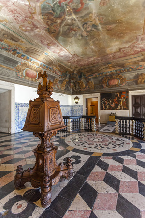 Baroque Entrance Hall  Sala da Portaria  with a large lectern of the Sao Vicente de Fora Monastery  Very important monument of Lisbon, Portugal