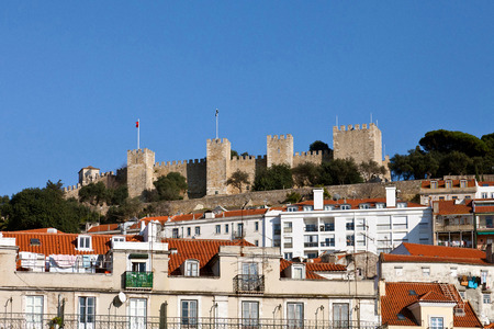 baixa: View of the Sao Jorge Castle from the Baixa  Downtown  District of Lisboa, Portugal  One of the landmarks of the Portuguese Capital