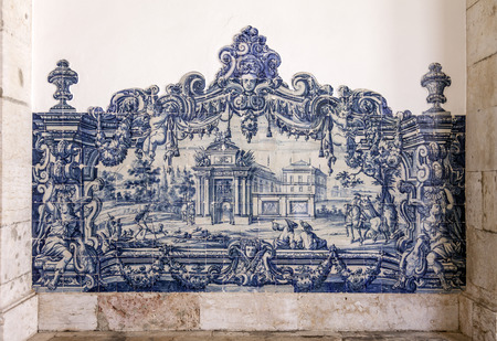 18th c  Portuguese Blue Tiles  Azulejos   Sao Vicente de Fora Monastery Cloister  Very important monument in Lisbon, Portugal  17th century Mannerism