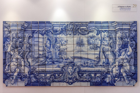 fontaine: La Fontaine Fables - The Fox and the Bust illustrated in 18th c  Portuguese Blue Tiles  Sao Vicente de Fora Monastery  Lisbon, Portugal